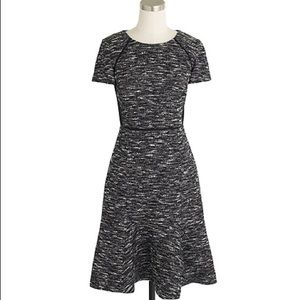 J. Crew Black Mixed Tweed Fit and Flare Dress